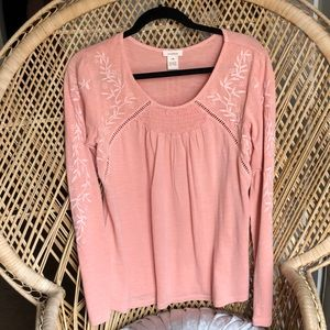 Sundance Peach Embroidered Blouse